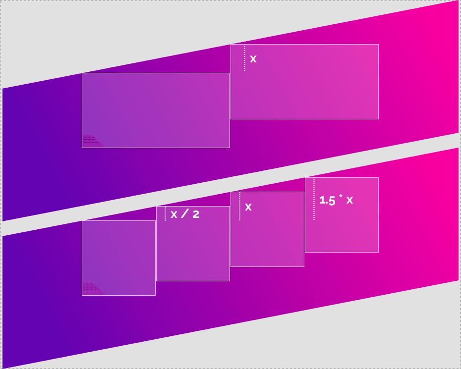 Создание диагональных лейаутов. Выравнивание нескольких блоков по диагонали